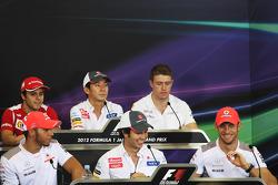 The FIA Press Conference, Ferrari; Kamui Kobayashi, Sauber; Paul di Resta, Sahara Force India F1; Lewis Hamilton, McLaren; Sergio Perez, Sauber; Jenson Button, McLaren
