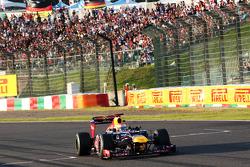 Race winner Sebastian Vettel, Red Bull Racing celebrates at the end of the race