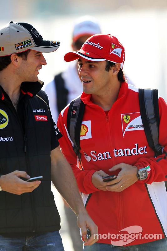 Jerome d'Ambrosio, Lotus F1 Team with Felipe Massa, Ferrari