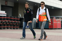 Jérôme d'Ambrosio, third driver,  Lotus F1 Team and Jules Bianchi, Sahara Force India Formula One Team