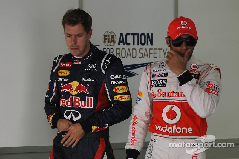 Sebastian Vettel, Red Bull Racing en Lewis Hamilton, McLaren Mercedes