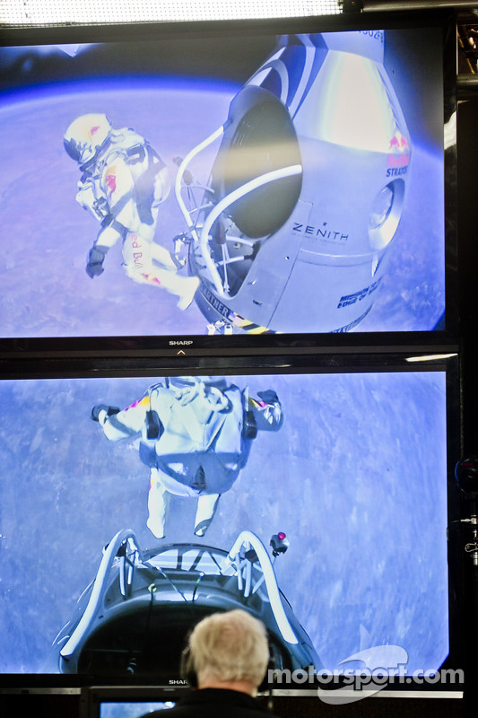 Members of the control team watch as Felix Baumgartner jumps from over 128,000 feet