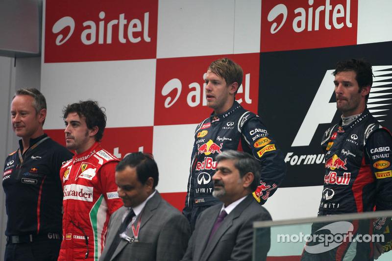 Sebastian Vettel, Red Bull Racing, Fernando Alonso, Scuderia Ferrari en Mark Webber, Red Bull Racing
