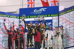 LMP1 private teams podium: winner Andrea Belicchi, Harold Primat, Cong Fu Chen, second place David Brabham, Karun Chandhok, Peter Dumbreck, third place Nick Leventis, Danny Watts, Jonny Kane