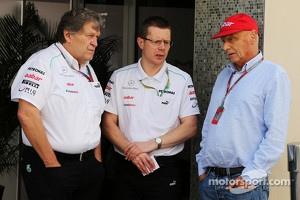 At left Norbert Haug, at right Niki Lauda.