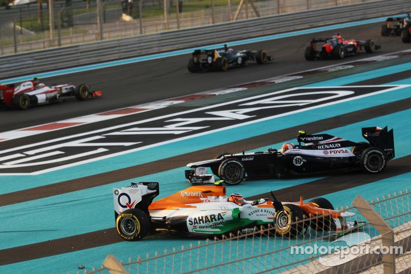 A crash at the start of the race involving Nico Hulkenberg, Sahara Force India F1 and Bruno Senna, Williams