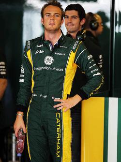 Giedo van der Garde, Caterham Third Driver with Alexander Rossi, Caterham F1 Test Driver behind