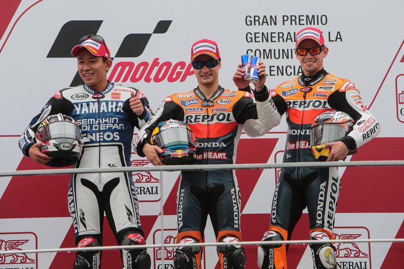 2012: 1. Dani Pedrosa, 2. Katsuyuki Nakasuga, 3. Casey Stoner