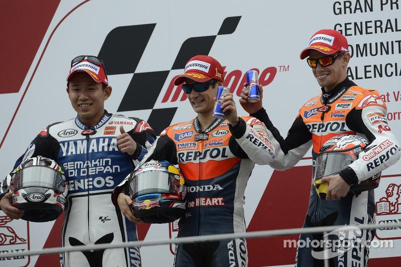 Podium: winner Dani Pedrosa, Repsol Honda Team, second place Katsuyuki Nakasuga, Yamaha Factory Raci