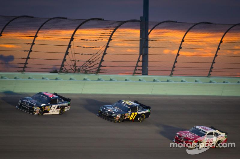 Jeremy Clements, Jeremy Clements Racing Chevrolet, Joe Nemechek, Nemco Motorsports Toyota, Kenny Wallace, Toyota