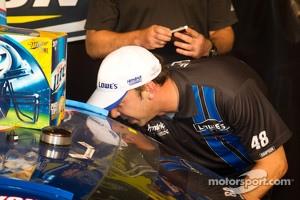 Championship victory lane: 2012 NASCAR Sprint Cup Series champion Brad Keselowski, Penske Racing Dodge congratulated by Chad Knaus