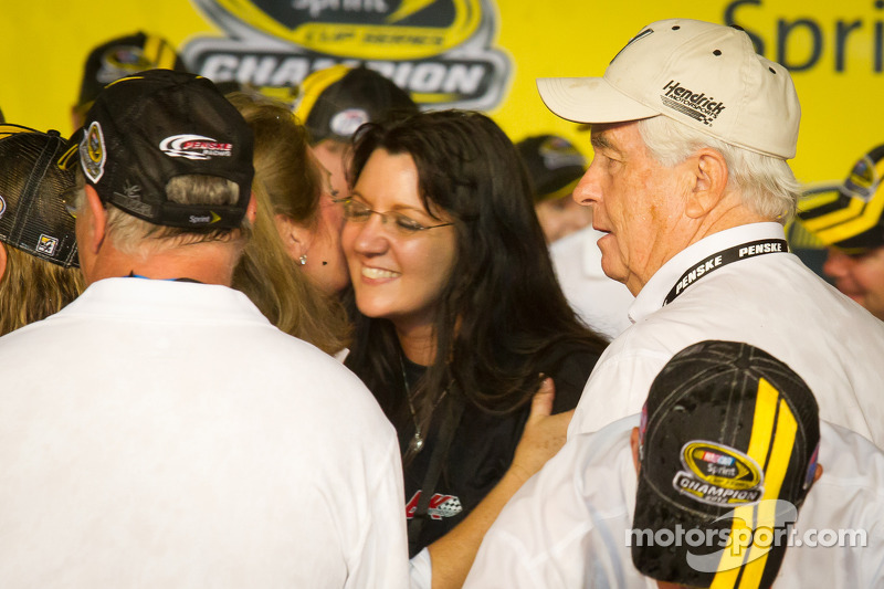 Championship victory lane: Roger Penske with a Hendrick Motorsports hat