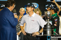 Championship victory lane: 2012 NASCAR Nationwide Series champion car owner trophy to J.D. Gibbs for
