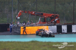 Romain Grosjean, Lotus F1 crashed out of the race at Interlagos