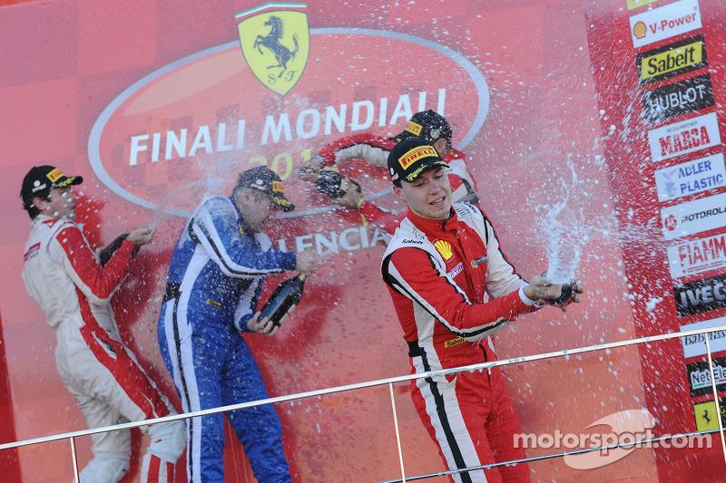 Finali Coppa Shell podium: race winner Alexey Basov, second place Raffaele Giannoni, third place Renato di Amato