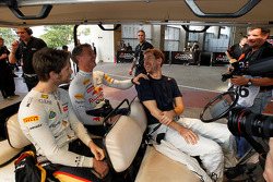 Sebastian Vettel, Romain Grosjean and David Coulthard