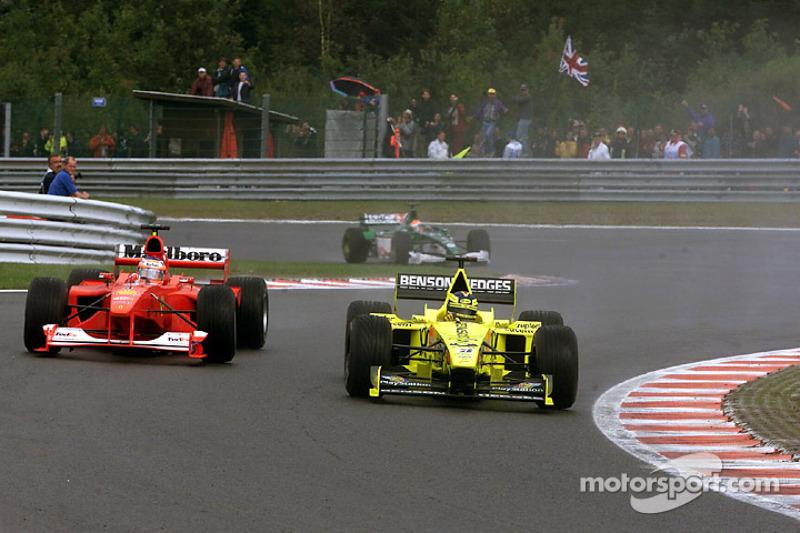 Хайнц-Харальд Френцен и Рубенс Баррикелло. ГП Бельгии, Воскресная гонка.
