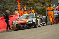 The car of #17 Belgian Audi Club Team WRT Audi R8 LMS: Stuart Leonard, Jamie Green, Jake Dennis after the crash