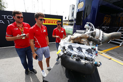 Charles Leclerc, PREMA Powerteam, and Antonio Fuoco, PREMA Powerteam, study the new F2 engine