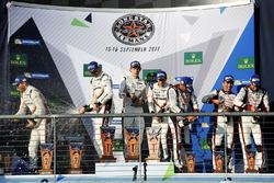 Podium: winners Timo Bernhard, Earl Bamber, Brendon Hartley, Porsche Team, second place Neel Jani, Andre Lotterer, Nick Tandy, Porsche Team, third place Stéphane Sarrazin, Sébastien Buemi, Kazuki Nakajima, Toyota Gazoo Racing