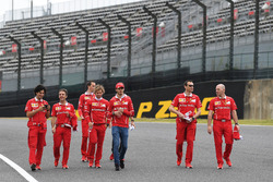Sebastian Vettel, Ferrari and Antonio Giovinazzi, Ferrari walk the track with  Riccardo Adami, Ferrari Race Engineer, Inaki Rueda, Ferrari Race Strategist, Antti Kontsas, trainer to Sebastian Vettel, Ferrari and Jock Clear, Ferrari Chief Engineer
