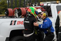 Jose Gutierrez after a big crash
