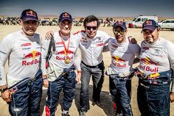 Carlos Sainz, Lucas Cruz, Sébastien Loeb, Daniel Elena, Peugeot Sport, ve Bruno Famin