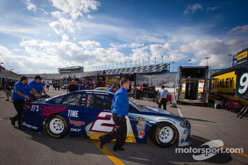 Wrecked car of Brad Keselowski, Penske Racing Ford