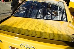 Names of crew members on the car of Kyle Busch, Joe Gibbs Racing Toyota