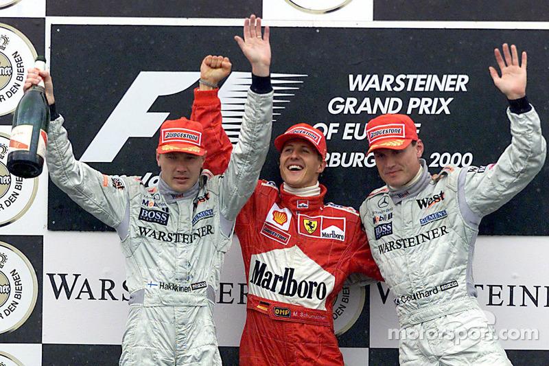 Михаэль Шумахер, Дэвид Култард и Мика Хаккинен. ГП Европы, Воскресная гонка.