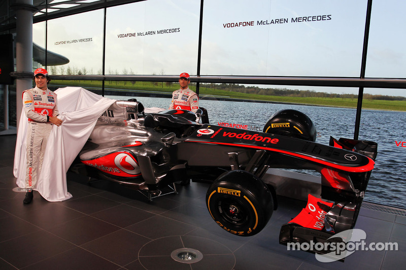 Sergio Perez, McLaren and team mate Jenson Button, McLaren unveil the new McLaren MP4-28