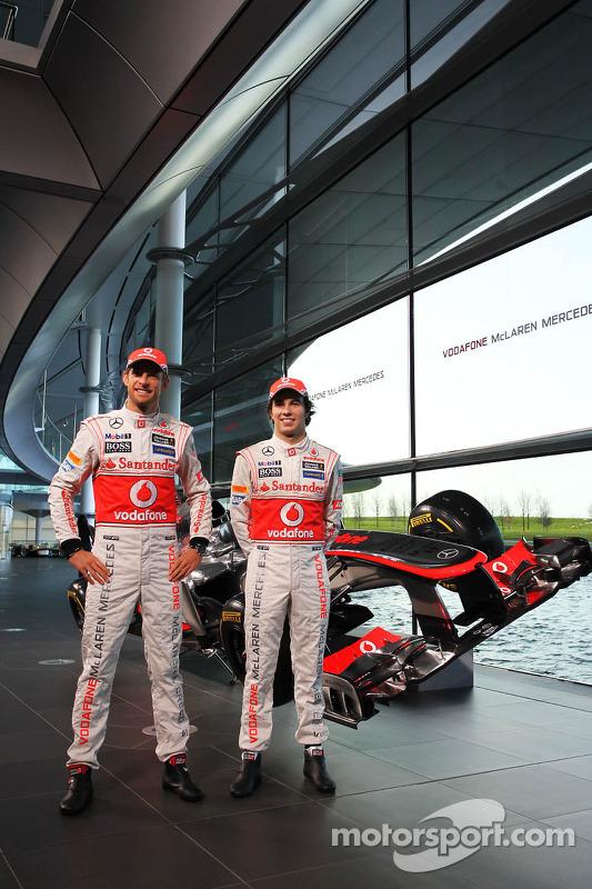 Jenson Button, McLaren; Sergio Perez, McLaren
