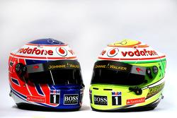 The helmets of Jenson Button, McLaren and Sergio Perez, McLaren