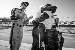 Race winners Charlie Kimball, Memo Rojas and Scott Pruett celebrate