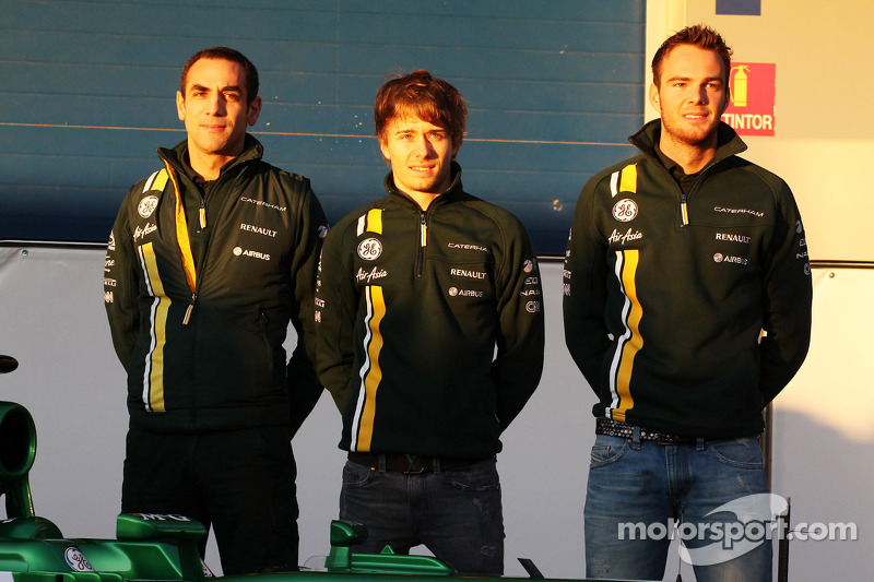 Cyril Abiteboul, Caterham F1 Team Principal with Charles Pic, Caterham and Giedo van der Garde, Caterham F1 Team
