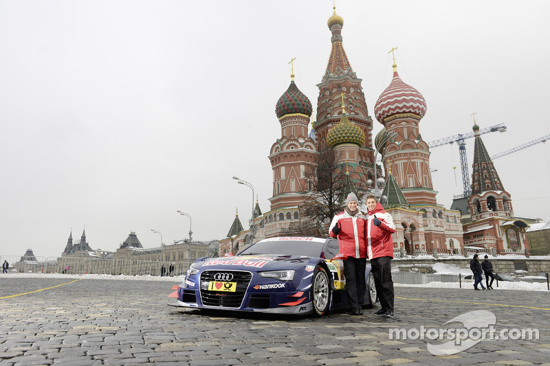 Маттиас Экстрем и Эдоардо Мортара. Audi представила машину DTM в Москве, 2013, презентация.