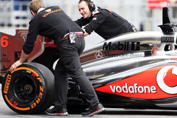 McLaren MP4-28 pushed back in the pits