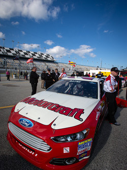 Car of Trevor Bayne, Wood Brothers Racing Ford at technical inpection