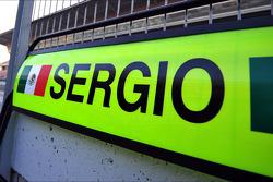 Pit board for Sergio Perez, McLaren