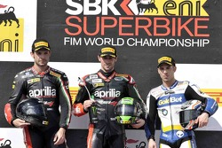 Race 2 podium: winner Eugene Laverty, second place Sylvain Guintoli, third place Marco Melandri