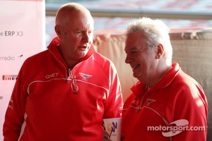 John Booth, Marussia F1 Team Team Principal with Pat Symonds, Marussia F1 Team Technical Consultant