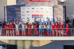 Podium: race winners Jon Fogarty, Alex Gurney, second place Ryan Dalziel, Alex Popow, third place Scott Pruett, Memo Rojas
