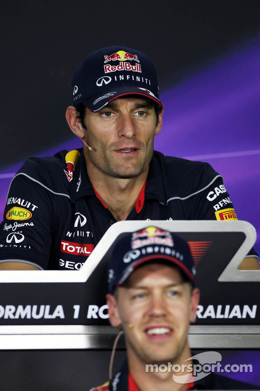 Mark Webber, Red Bull Racing e Sebastian Vettel, Red Bull Racing na coletiva da FIA