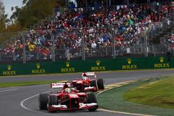 Felipe Massa, Ferrari F138 leads Fernando Alonso, Ferrari F138