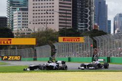 Valtteri Bottas, Williams FW35 leads team mate Pastor Maldonado, Williams FW35