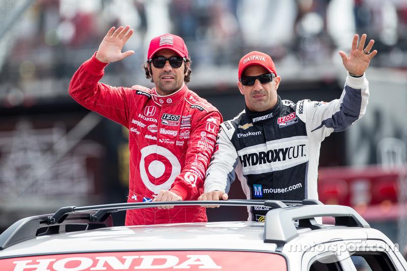 Dario Franchitti, Target Chip Ganassi Racing Honda en Tony Kanaan, KV Racing Technology Chevrolet