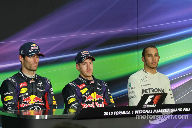 The post race FIA Press Conference, Mark Webber, Red Bull Racing, second; Sebastian Vettel, Red Bull Racing, race winner; Lewis Hamilton, Mercedes AMG F1, third
