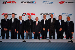 From left, Phillipp Berkessy, ITR Marketing Director, Ed Bennett, President and CEO GRAND-AM Road Racing, Scott Atherton, President and C.E.O. American Le Mans Series, Jim France, Executive Vice President/Secretary, NASCAR, Hans Werner Aufrecht, ITR Board