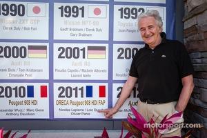 ORECA boss Hugues de Chaunac commemorates his win in 2011 at the Sebring International Raceway wall of champions