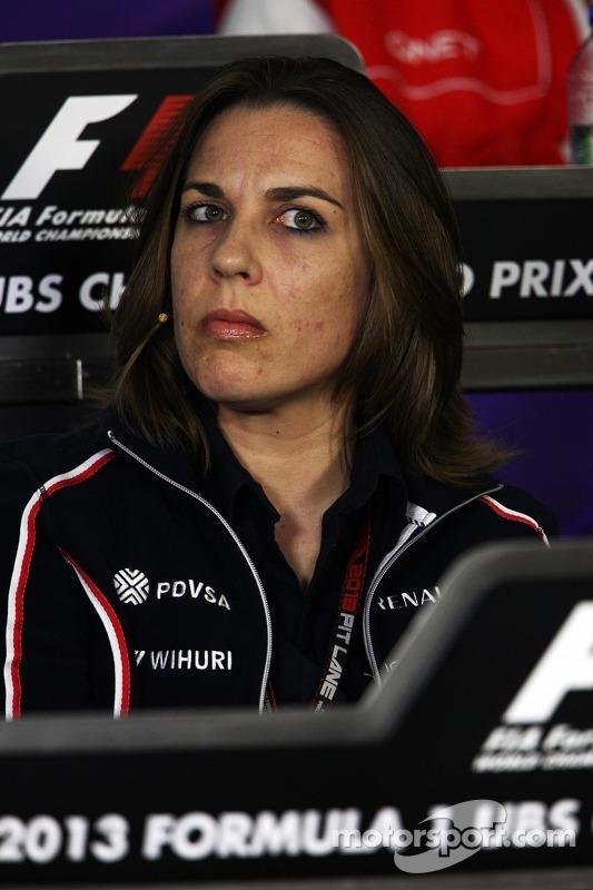Claire Williams, vice-diretora da equipe Williams, na Conferência de Imprensa FIA
